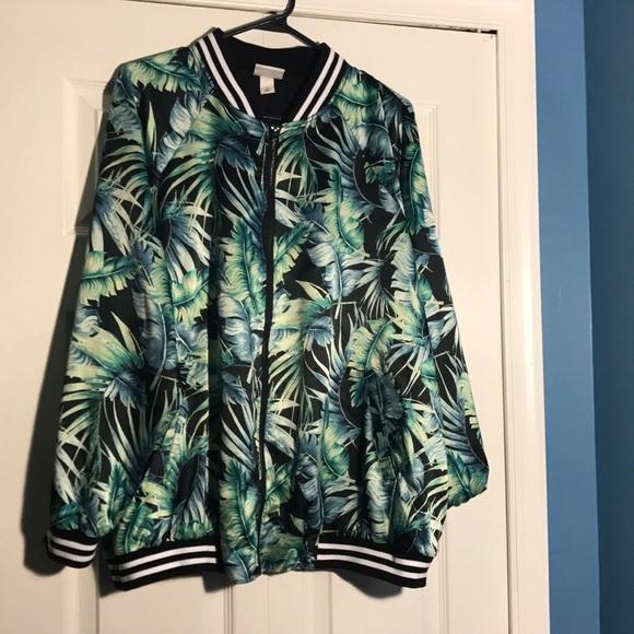 ed6236728fcff Ava   Viv Jackets   Blazers - Ava   Viv palm print bomber ...